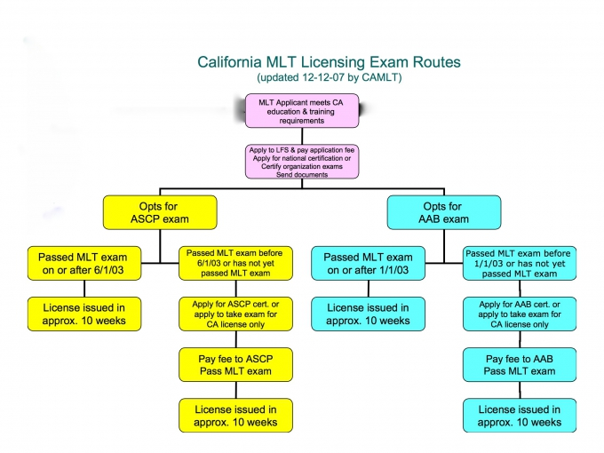 California MLT Licensing Exam Routes